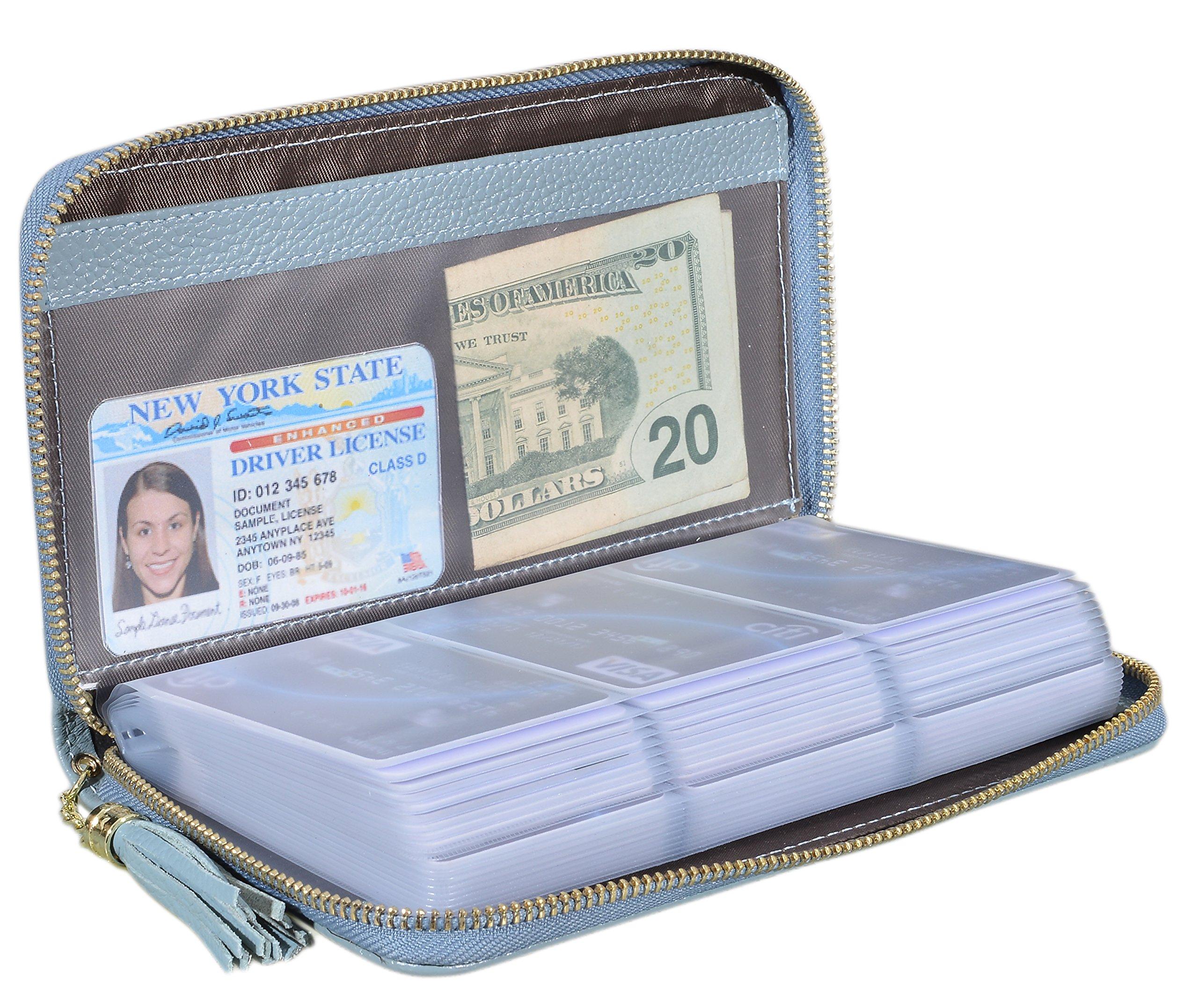 Easyoulife Credit Card Holder Wallet Womens Zipper Leather Case Purse RFID Blocking (Light Blue)