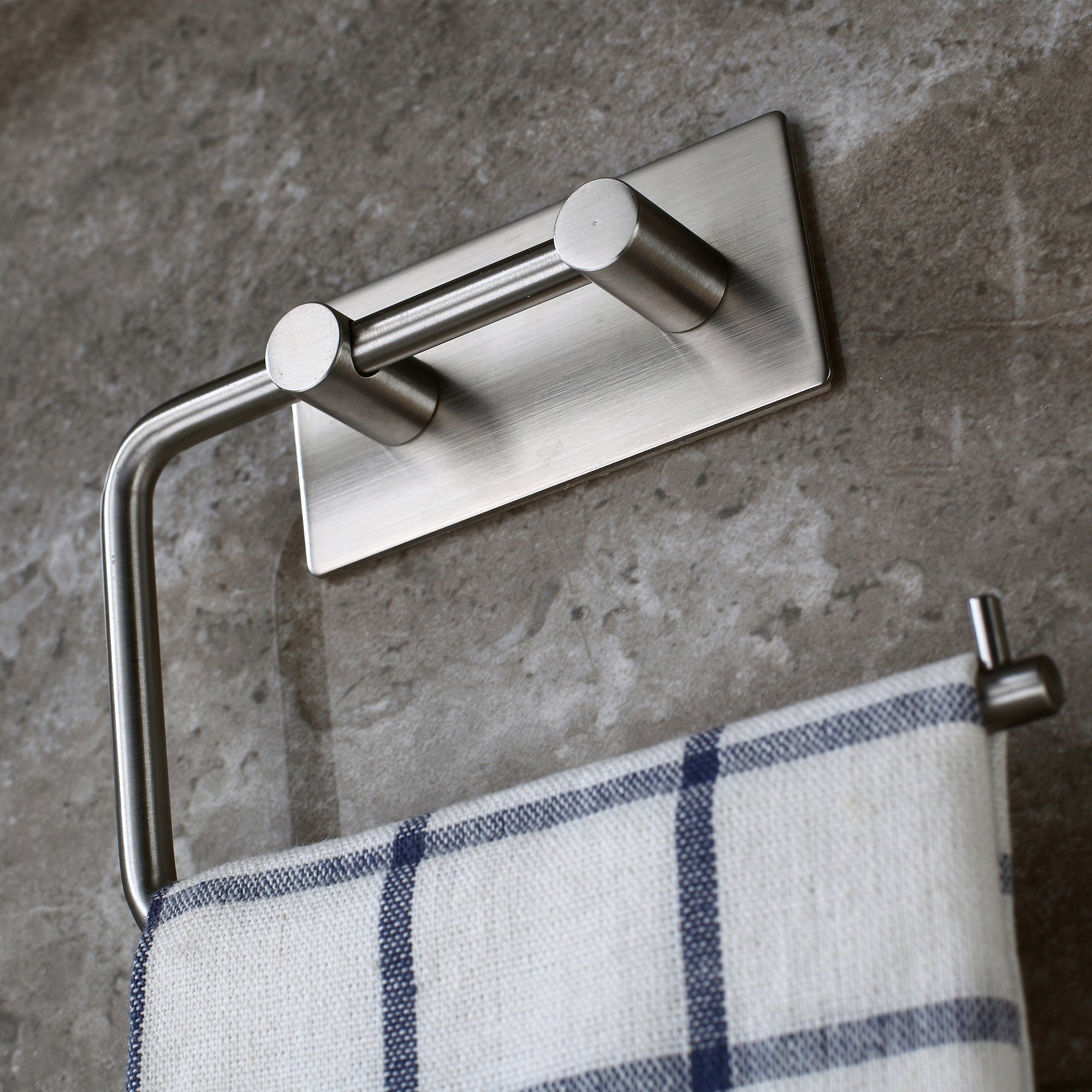 Mellewell Self Adhesive Toilet Paper Roll Holder Hand Towel Hanger for Bathroom and Kitchen, Stainless Steel Brushed Nickel, 02004PH