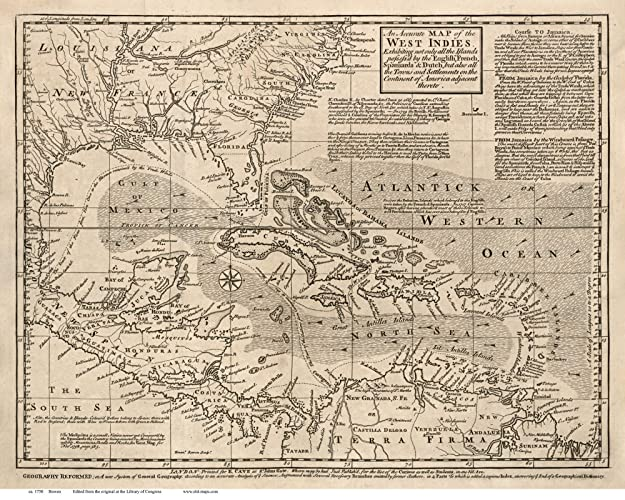 Amazon.com: Caribbean 1750 Map by Bowen - Reprint Cuba ... on map of guiana, map of bahamas, map of south america, map of world, map of colombia, map of nicaragua, map of honduras, map of ecuador, map of canada, map of aruba, map of switzerland, map of puerto rico, map of romania, map of paraguay, map of yemen, map of caracas, map of bolivia, map of greece, map of bonaire,