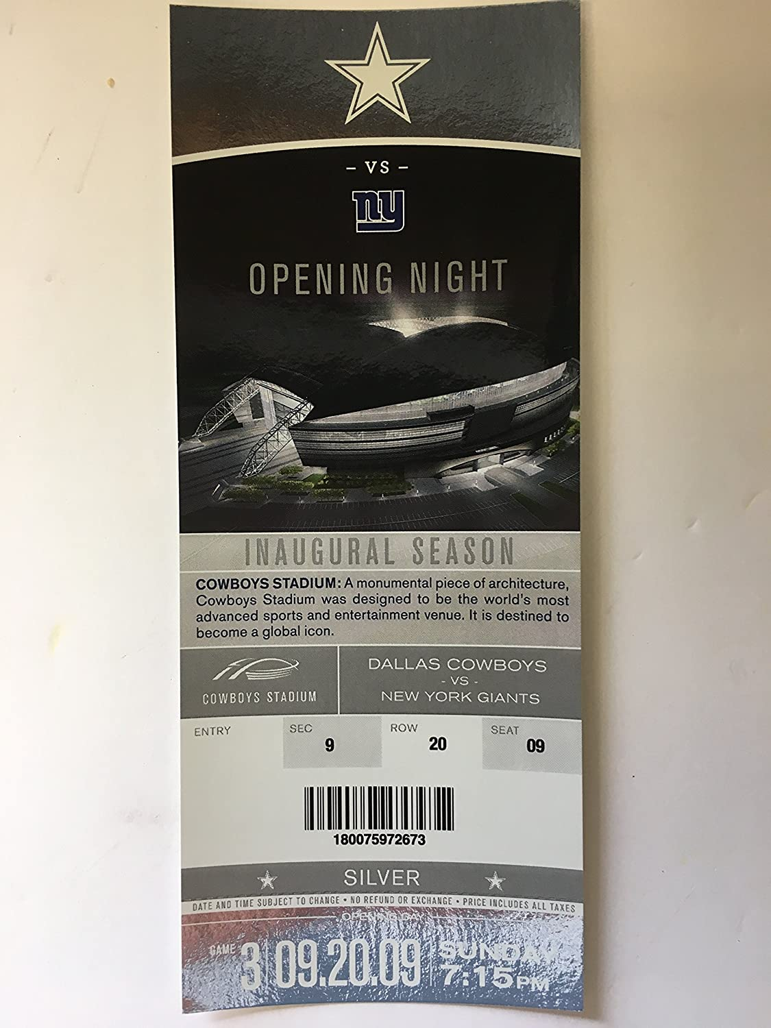 Cowboys Stadium Opening Night Inaugural Season Commemorative Holographic Ticket Stub! Dallas Cowboys vs New York Giants 9/20/09