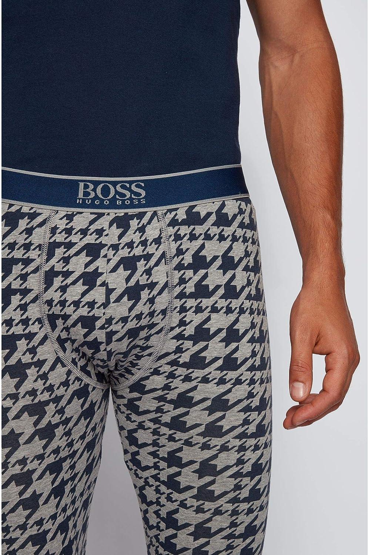 BOSS Herren Long John 24 Print Lange Unterhose aus Stretch-Baumwolle mit Hahnentritt-Print