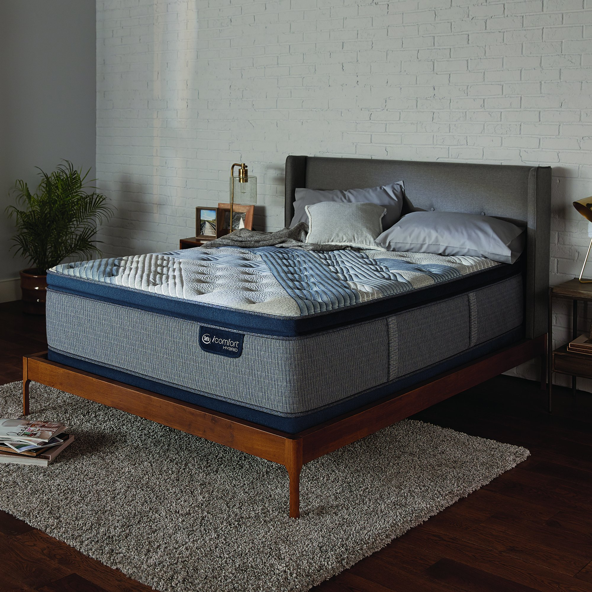 Serta Icomfort Hybrid 14'' Blue Fusion 1000 Plush Conventional Bed Mattress, King, Gray by Serta