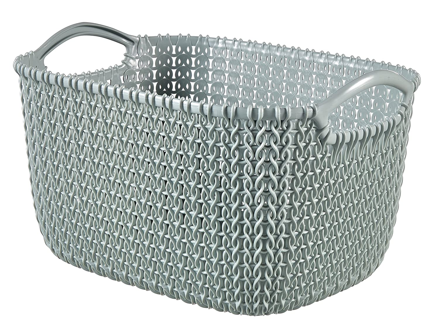 Curver Knit Rectangular Storage Basket, Misty Blue, 3 Litre 229304
