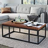 Nathan James Nelson Coffee Table Ottoman, Living Room Entryway Bench with Faux Leather Tuft Iron Frame, Warm Brown/Black