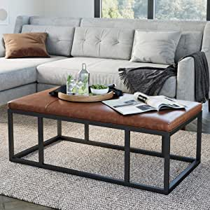 Amazon Com Nathan James Nelson Coffee Table Ottoman Living Room Entryway Bench With Faux Leather Tuft Iron Frame Warm Brown Black Furniture Decor