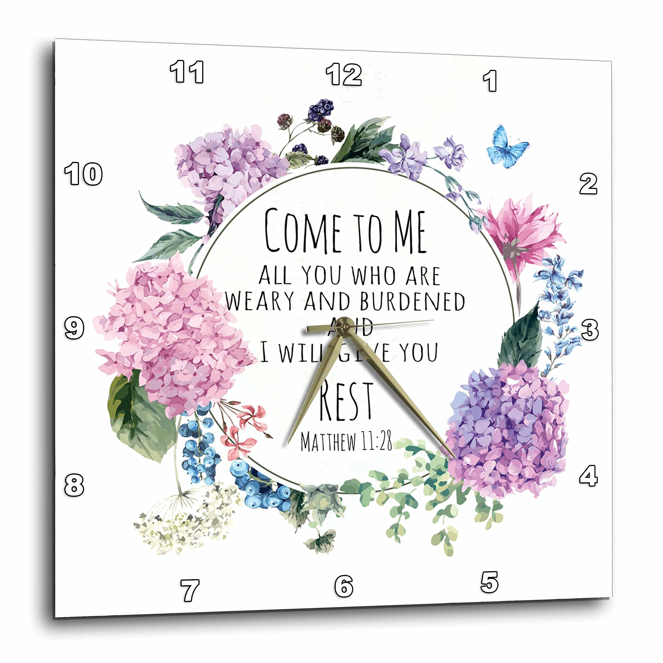 3dRose TNMGraphics Scripture - Bible Matthew 11 Come to Me Give You Rest - 10x10 Wall Clock (dpp_264666_1)