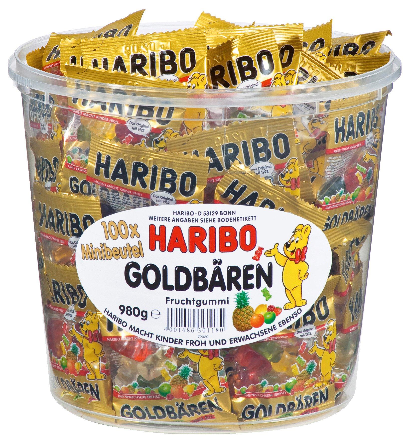 Haribo Mini Goldbaren ( Haribo mini Gold Bears ) , 100x minibags, 980g Tub