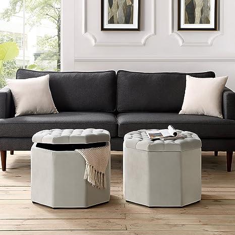 Inspired Home Nova Grey Velvet Storage Ottoman - Upholstered | Tufted |  Livingroom, Entryway, Bedroom