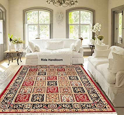 Rida Handloom Acrylic Carpet for Living Room Carpets, Center Table and Carpets for Hall, 5x7 Feet (Maroon)