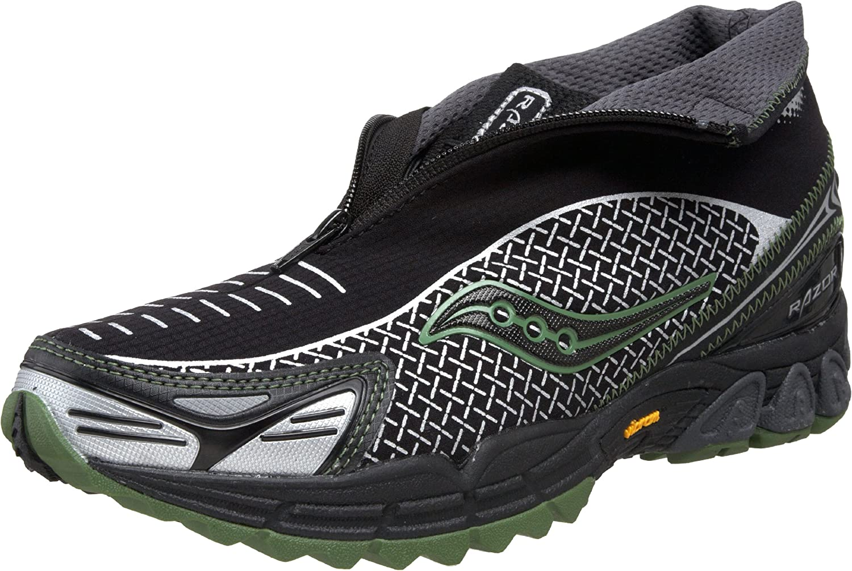 Saucony Mens ProGrid Razor Trail Running Shoe,Black/Silver/Green,9 M US: Amazon.es: Zapatos y complementos