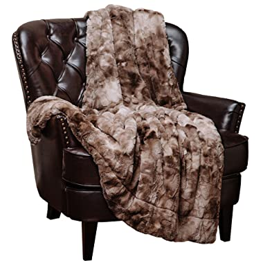Chanasya Faux Fur Throw Blanket | Super Soft Fuzzy Light Weight Luxurious Cozy Warm Fluffy Plush Hypoallergenic Blanket for Bed Couch Chair Fall Winter Spring Living Room (50  x 65 ) - Beige