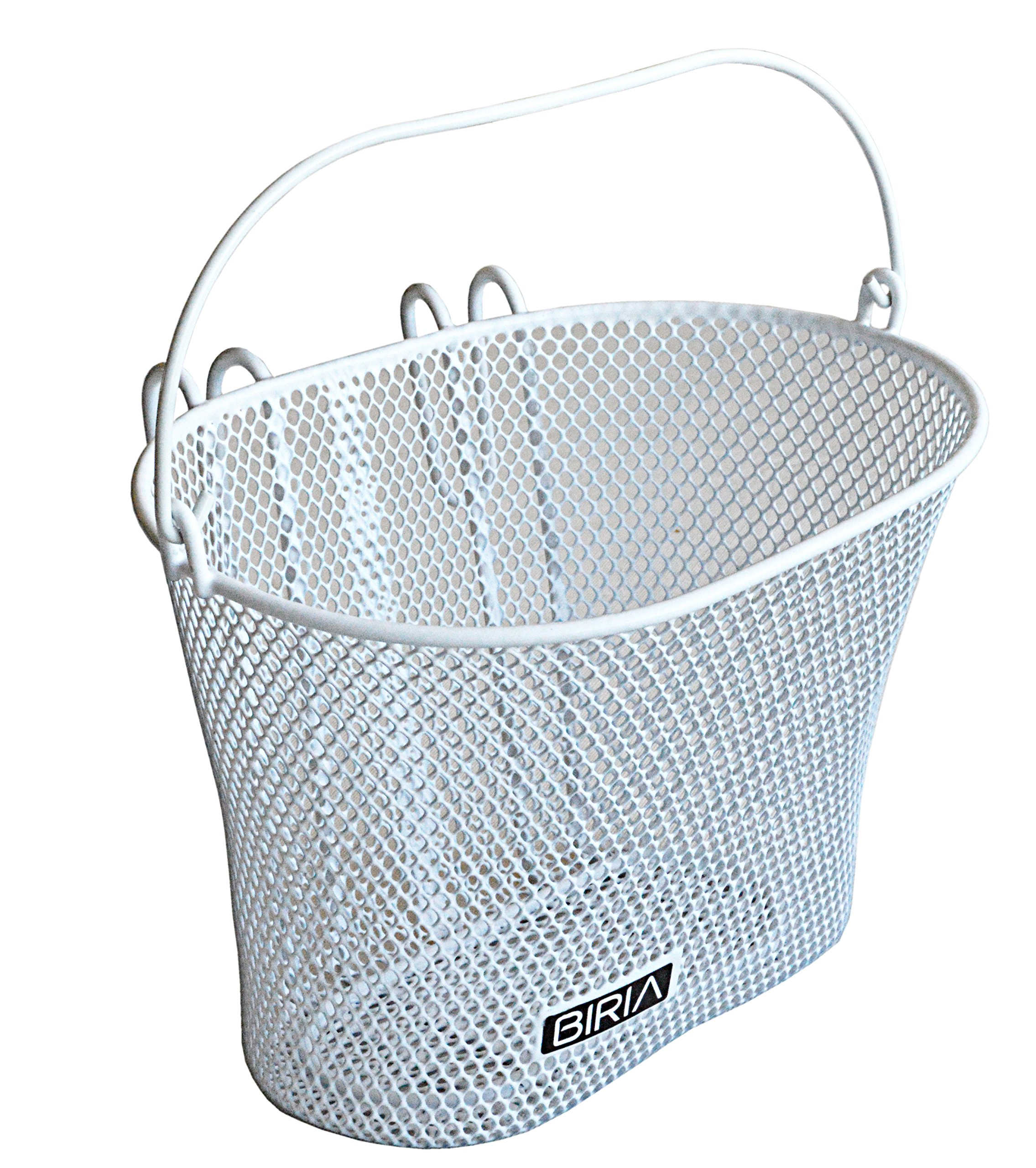 Biria Basket with Hooks White, Front, Removable, Wire mesh Small, Kids Bicycle Basket, White