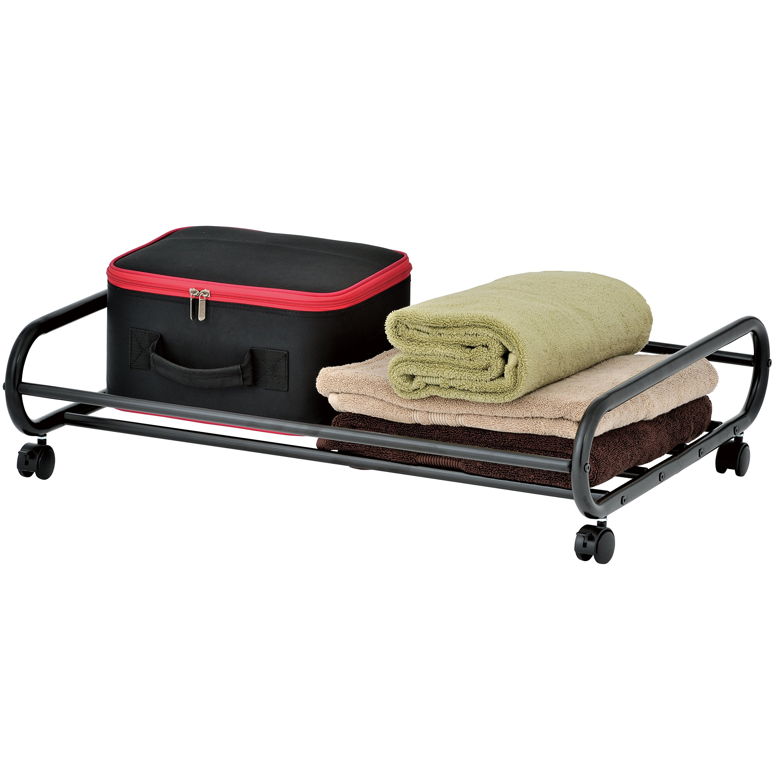 MyGift 24-Inch Rolling Metal Under-Bed Storage Cart with Rotating Wheels by MyGift
