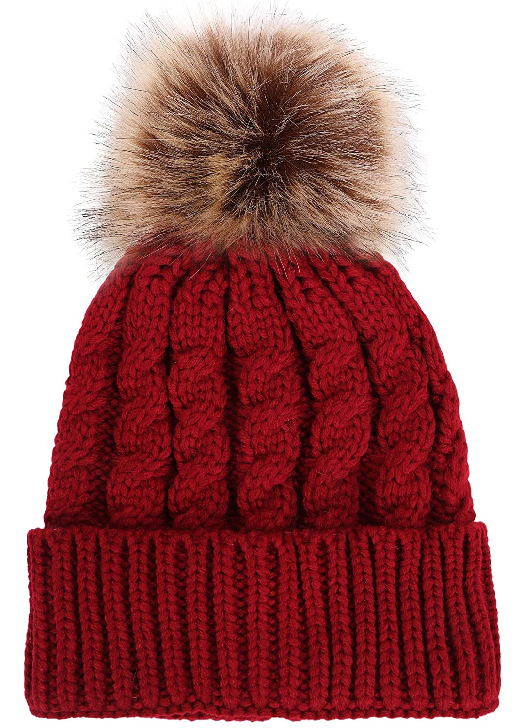 15afd8463 Livingston Women's Winter Soft Knitted Beanie Hat With Faux Fur Pom ...