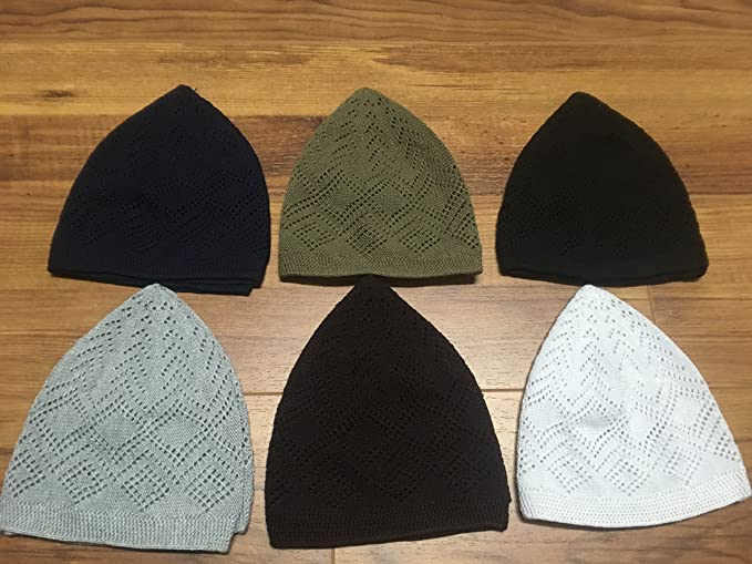 092a608eea9 Image Unavailable. Image not available for. Colour  7x Islamic Muslim  Knitting Kufi Topi Prayer Hat Crochet Taqiyah Takke Skull Cap