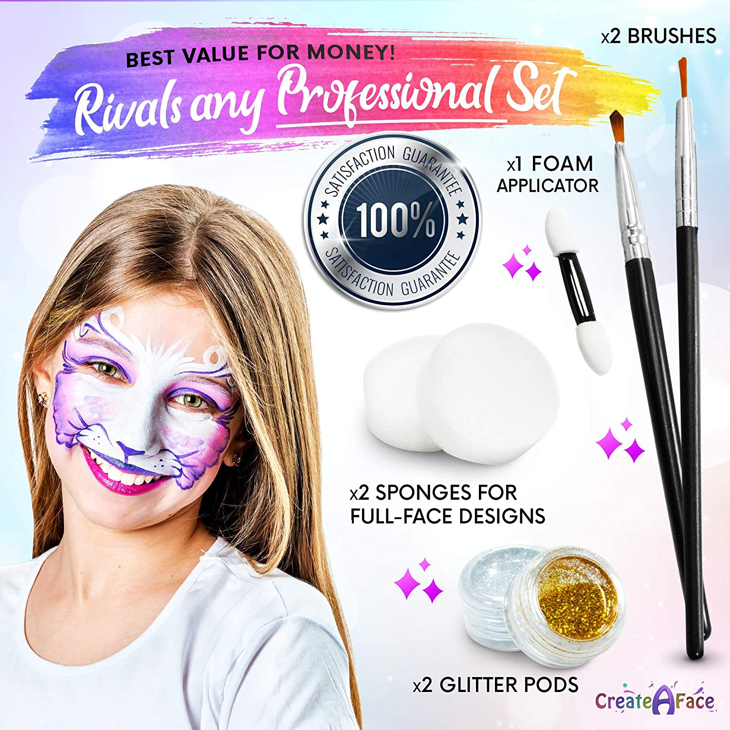 Face Paint Kit For Parties Paints 50 80 Faces With No Experience 8 Vivid Colors Glitter Brushes 32 Diy Stencils Ebook Safe Makeup Keeps The Kids Busy Happy Amazon Ca Home Kitchen