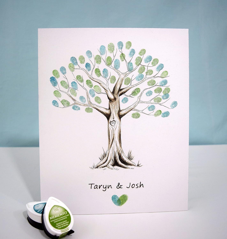 Fingerprint Tree custom wedding guestbook - Original thumbprint guest book alternative (Small Size Monochrome) includes 1 ink pad!!