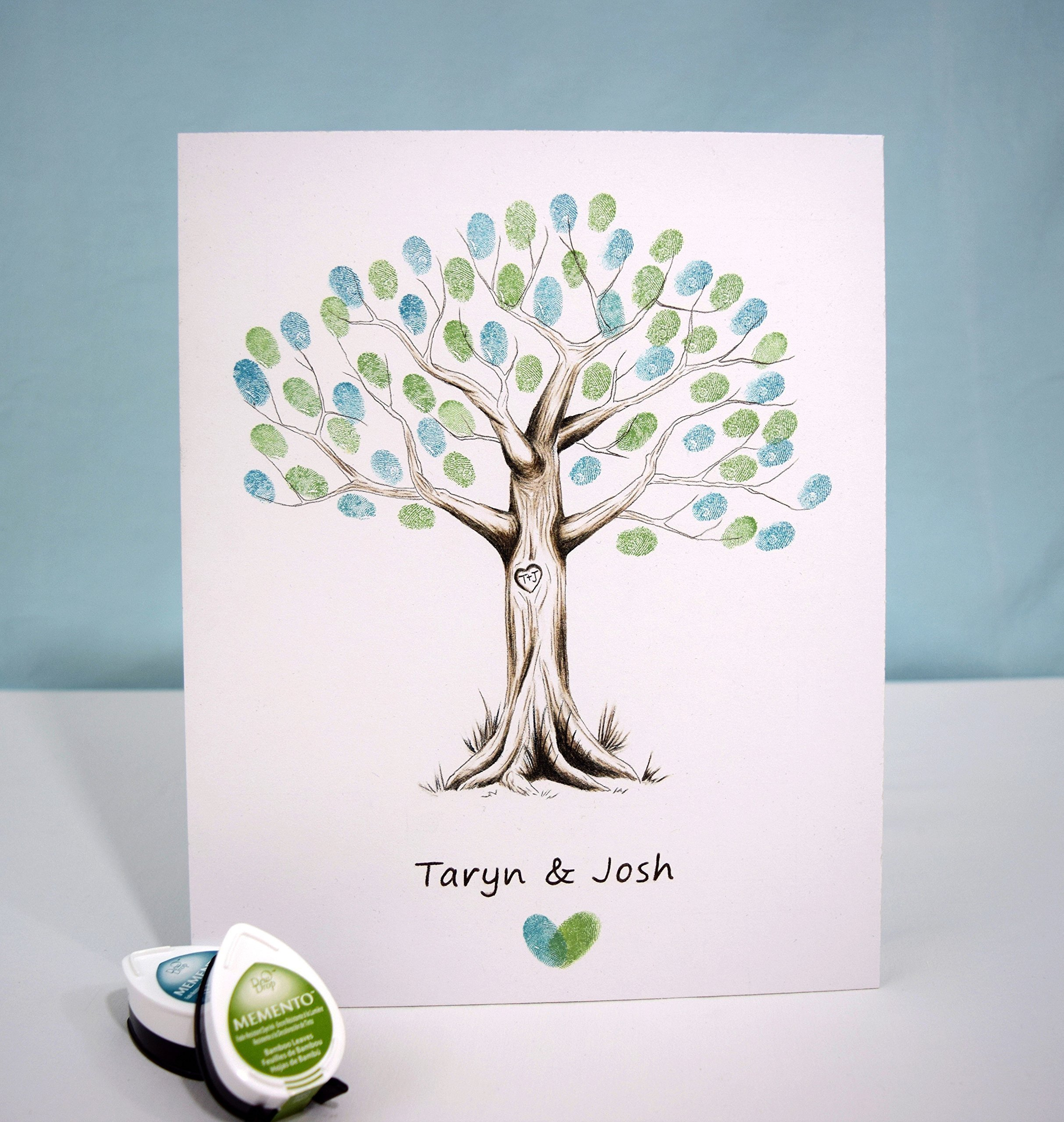 Fingerprint Tree custom wedding guestbook - Original thumbprint guest book alternative (Small Size Monochrome) includes 1 ink pad!!