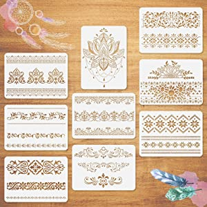 9Pcs Mandala Border Stencils 11.8x8.5 Inches, Flower Border Stencils for Painting on Wood/Wall/Furniture/Canvas/ Paper/ Fabric