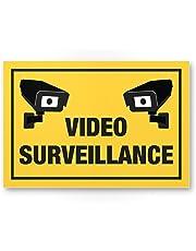 Video Surveillance Panneau (Jaune, 30x 20cm)–Panneau Attention/Attention vidéo surveillance–Panneau d'avertissement/pictogramme vidéo via–dessinée/avertissement