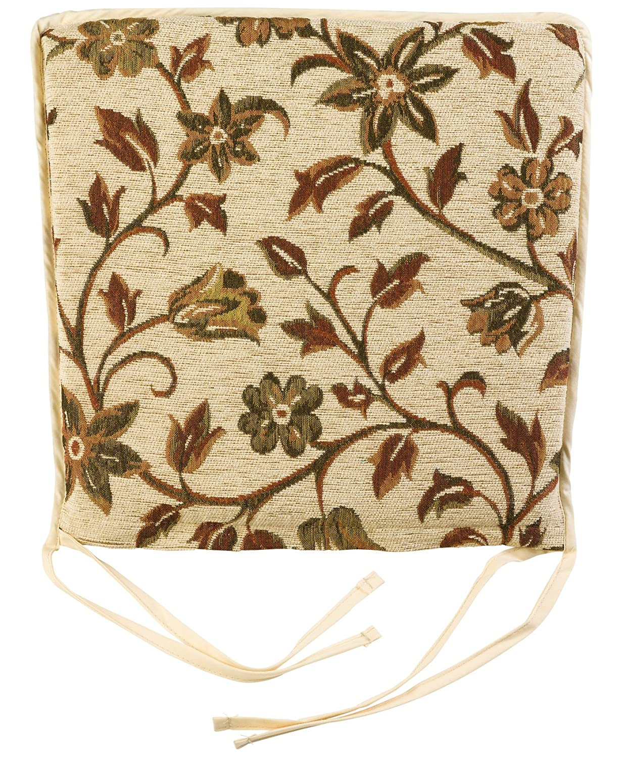 Floral Tapestry Style Square Seat Pad Zipped Kitchen Garden Chair Cushion 15