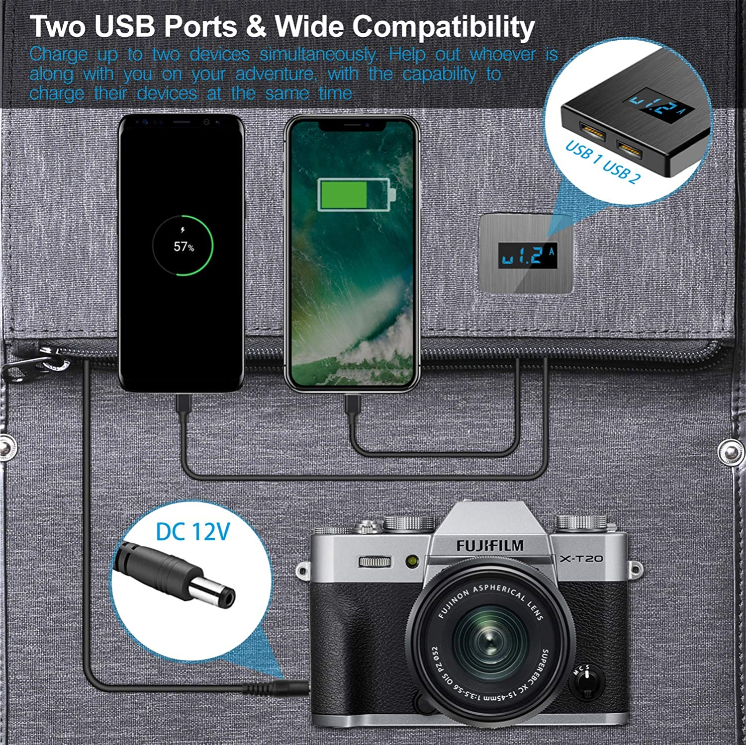 Waterproof Portable for Outdoor Camping Solar Charger Solar Panel Charger VITCOCO 16W Foldable Solar Phone Charger with 2 USB Ports /& Display Function for iPhone Power Bank Android iPad