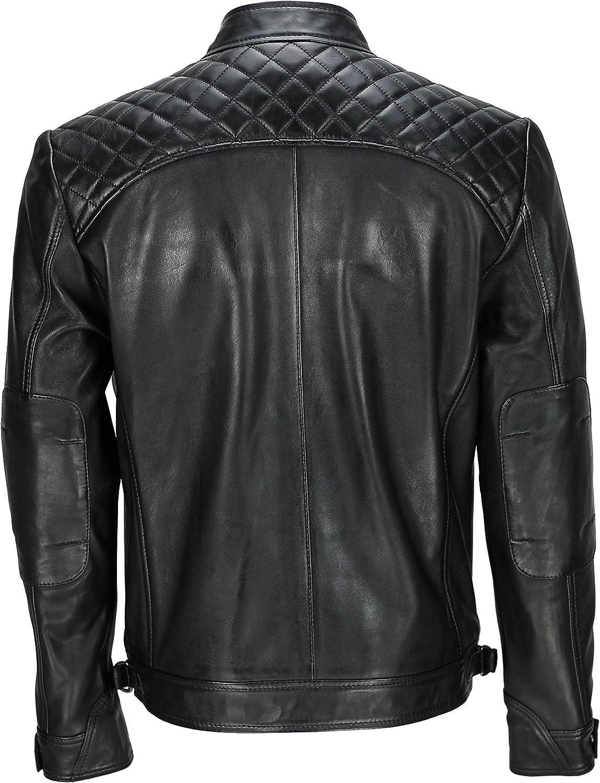colore: nero stile motociclista vintage Xposed in vera pelle morbida alla moda casual Giacca da uomo con cerniera