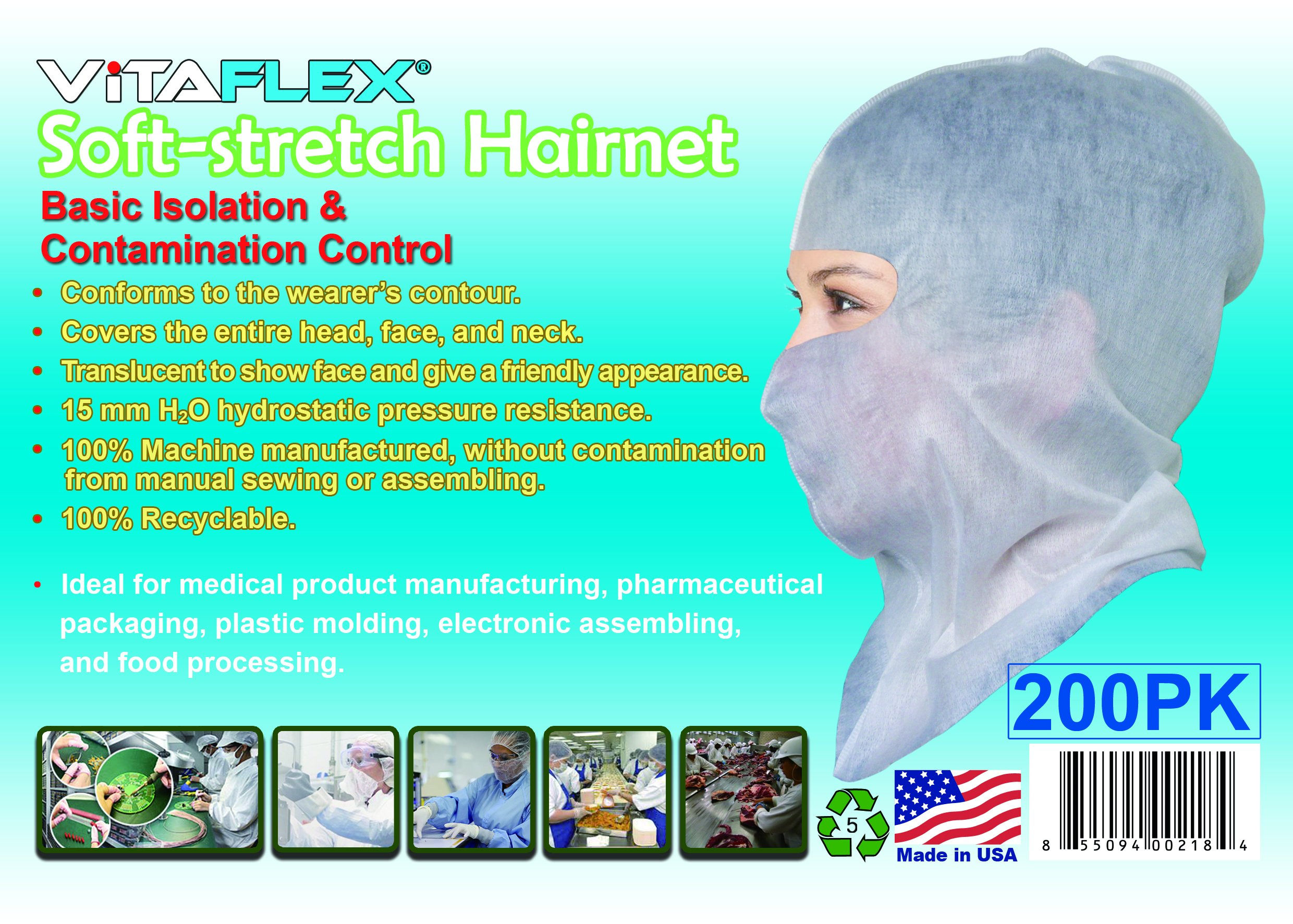 Soft-Stretch Disposable Hood, Headcover for Cleanroom or Healthcare Workers (more coverage than wearing a bouffant cap, a mask and a beard cover), $0.46 Ea, 200pcs Per Pack
