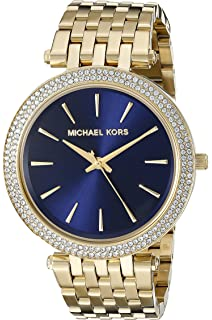 34907bef69768 Michael Kors Women s 39mm Goldtone Plated Darci Watch with Navy Dial