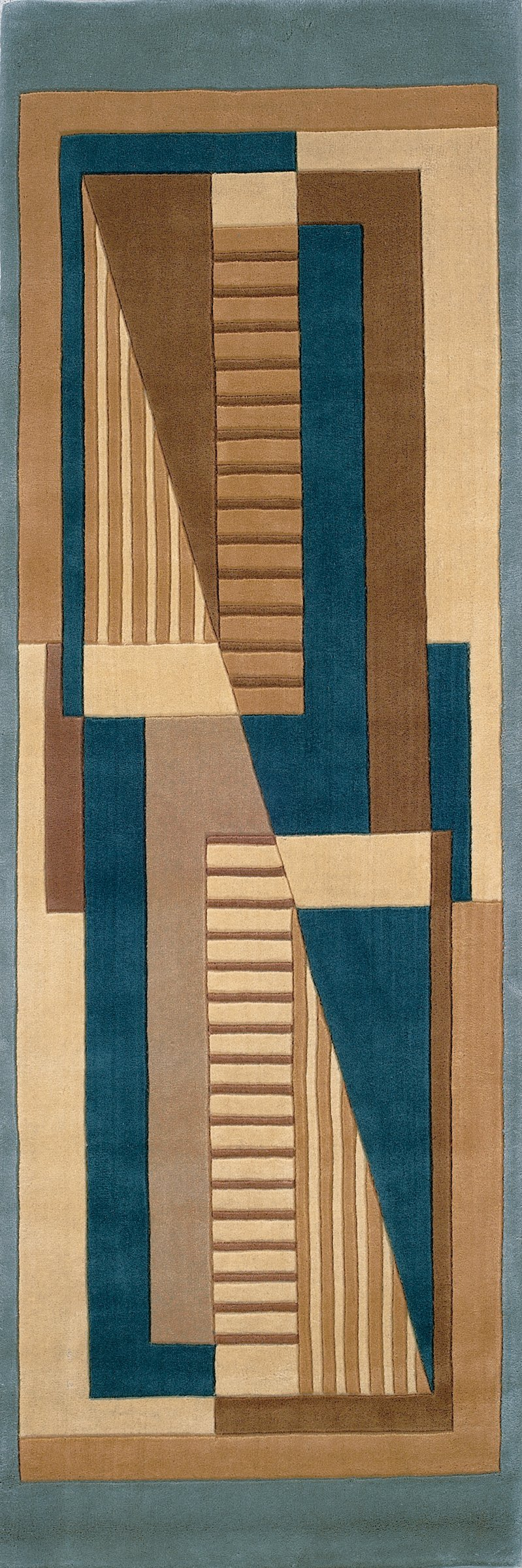 Momeni Rugs NEWWANW-06BLU26C0 New Wave Collection, 100% Wool Hand Carved & Tufted Contemporary Area Rug, 2'6'' x 12' Runner, Blue by Momeni Rugs