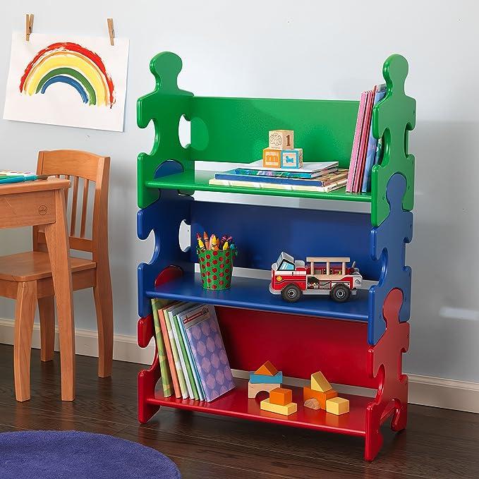 KidKraft - Estantería infantil de madera con diseño puzzle y 3 estantes, muebles para salas de juego y dormitorio de niños, multicolor (colores primarios) (14400): Amazon.es: Juguetes y juegos