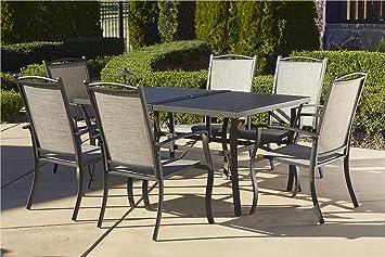 Cosco Outdoor 7 Piece Serene Ridge Aluminum Patio Dining Set Dark