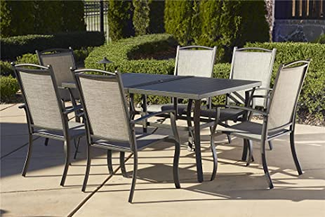 Cosco Outdoor 7 Piece Serene Ridge Aluminum Patio Dining Set, Dark Brown