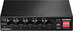 Edimax ES-5104PH V2 Long Range 5 Port Fast Ethernet Switch with 4 PoE+ Ports, Supports Long Range Up to 200M, Port-Base VLAN, QoS, Auto-detect PD, Total 60W with External Power Adapter