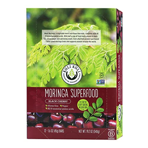 Kuli Kuli Moringa SuperFood Energy Bar, Black Cherry, 1.6 Ounce Bars Box of 12 Vegan, Gluten-Free Energy Bar, Contains Half Cup of Leafy Greens, Chia Pumpkin Seeds No Added Sugar, Convenient Snack
