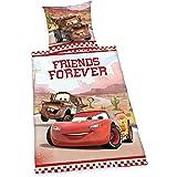 Herding 442961050 Bettwäsche Cars Friends Forever, Kopfkissenbezug: 80 x 80 cm und Bettbezug: 135 x 200 cm, 100 % Baumwolle, Renforce