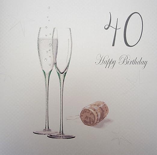White Cotton Cards Grande 40 Cumpleaños, Copas de champán ...
