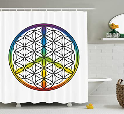 Ambesonne Hippie Shower Curtain Life And Peace Symbol Forming Flower In Rainbow Colors Abstract Style