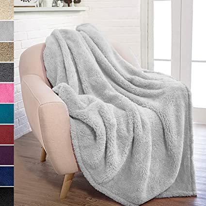 Amazon.com  PAVILIA Plush Sherpa Throw Blanket for Couch Sofa ... 33d69b759