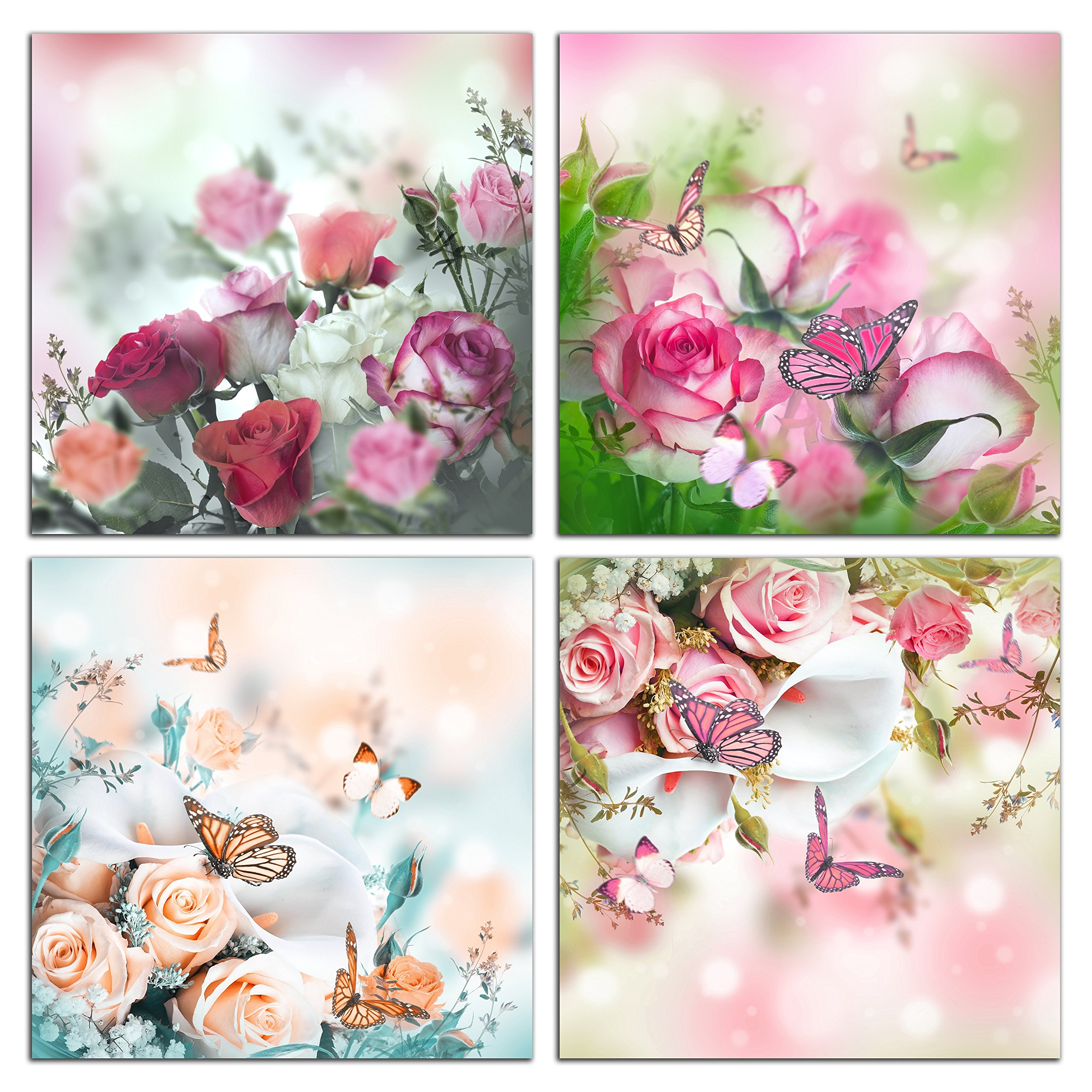 NAN Wind 4 Piece Floral Canvas Wall Art Still Life Rose and butterfly Painting Flower Pictures for Home Decoration Modern Painting Wall Decor Canvas For Gift Piece Ready to Hang
