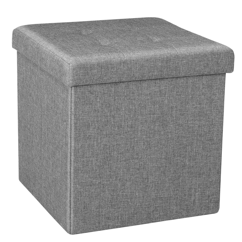 bonlife Folding Storage Ottoman Linen Footstool Space-saving Chest Room Organizer Cube Box for seating & Resting 38 x 38 x 37.5 cm (Gray) ¡ Bella&Leo