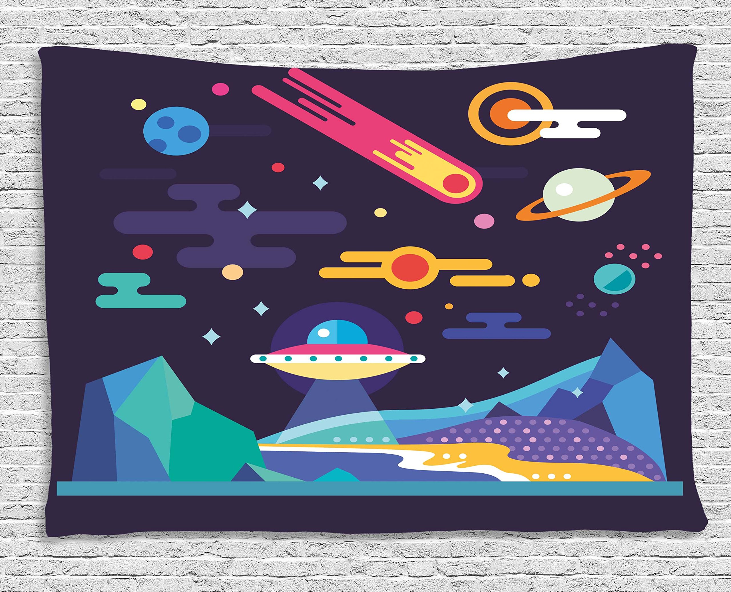 Ambesonne Space Tapestry, Galaxy Cosmos Universe Themed Solar System Stardust Comet UFO Planetary Illustration, Wall Hanging for Bedroom Living Room Dorm, 80WX60L inches, Multicolor