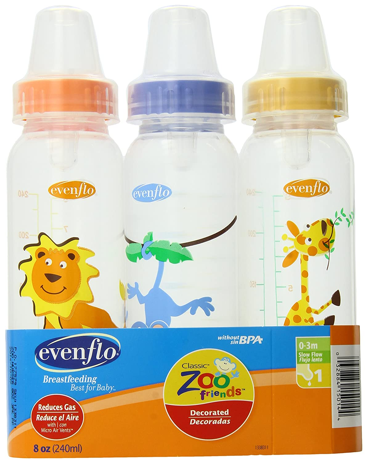 Evenflo Zoo Friends 3 Count Standard Nipple Bottle, 8 Ounce (Colors may vary): Amazon.es: Bebé