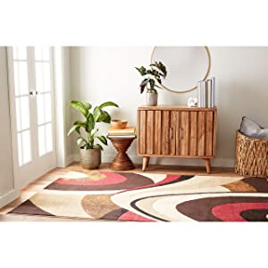 "Home Dynamix Tribeca Slade Modern Area Rug, Abstract Brown/Red 18.9""x31.5"""