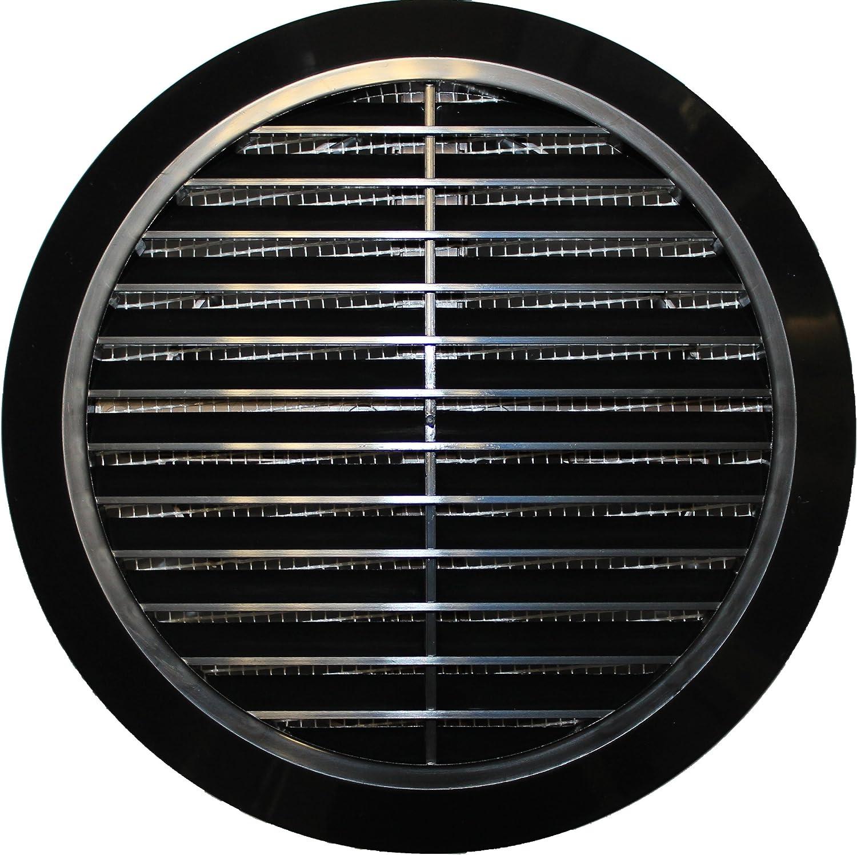 color blanco Rejilla de ventilaci/ón 100 mm de di/ámetro, 150 x 150 mm, con control deslizante, protecci/ón contra insectos, pl/ástico ABS