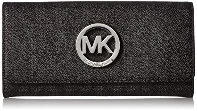 d63fc88219ef51 Amazon.com: Michael Kors Fulton Flap Signature MK PVC Clutch Wallet ...