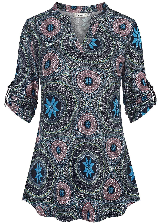 eeea9b0ac619ab Amazon.com: Ouncuty Womens V Neck Casual Flowy Blouses Shirts 3/4 Sleeve  Floral Tunic Tops: Clothing