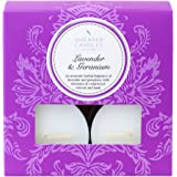 """Shearer Candles """"Lavender and Geranium"""" Scented Tealights, Pack of 8, White"""