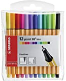 STABILO point 88 Mini - Pochette de 12 stylos-feutres pointe fine - Coloris assortis