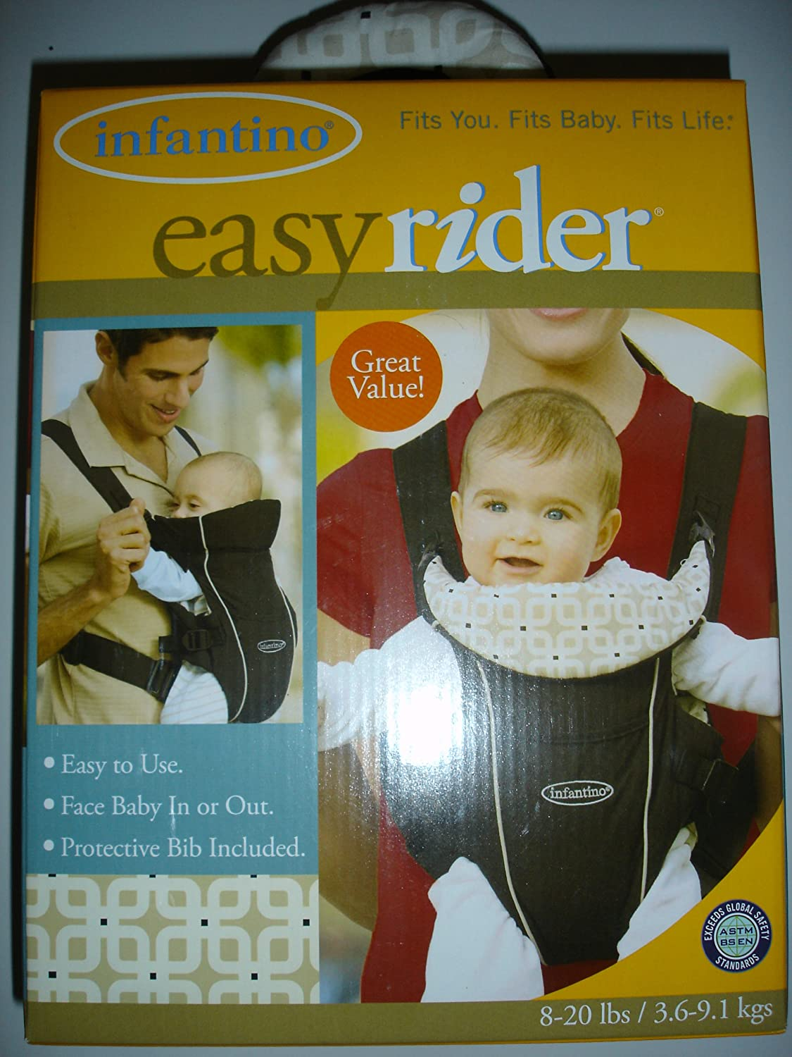 e072cb2812a Amazon.com   Infantino Easy Rider Baby Carrier Black Cream Tile 8-20 lbs.    Child Carrier Front Packs   Baby